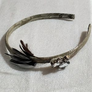 LOFT Grey Feather Rhinestone Headband #465